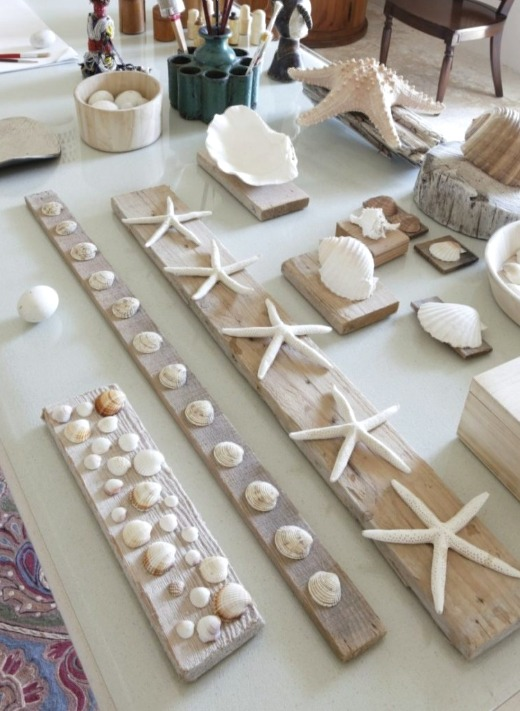 Diy Seashell Wall Art Decor Ideas Mounting Shells On Wood Planks Coastal Decor Ideas Interior Design Diy Shopping