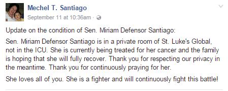 The Reason Why Miriam Defensor-Santiago Passed Away