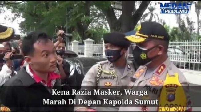 Pria Ini Marah-marah di Depan Kapolda Sumut Gegara Terjaring Razia Masker