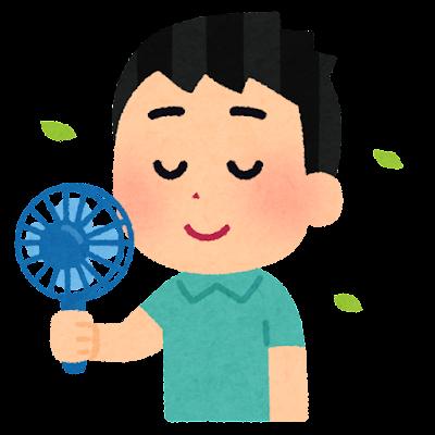 ハンディファンを使う人のイラスト(男性)