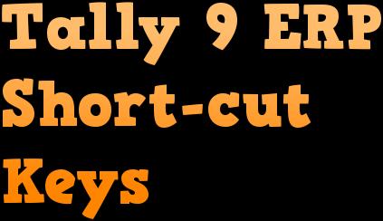 Tally Erp 9 Shortcut Keys List Pdf