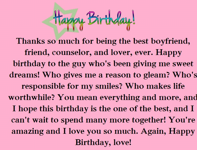 Happy birthday essay for boyfriend