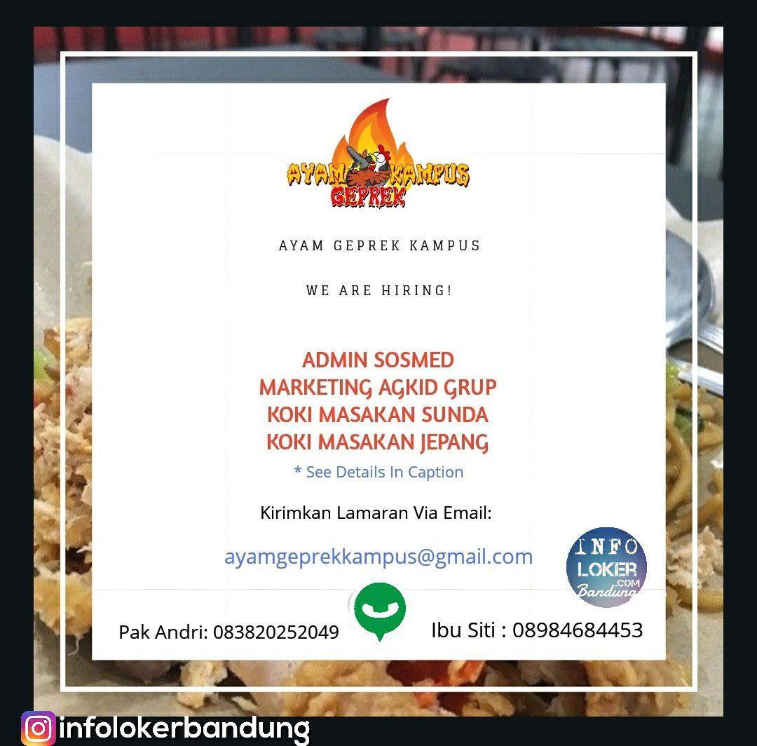 Lowongan Kerja Ayam Geprek Kampus Bandung November 2018