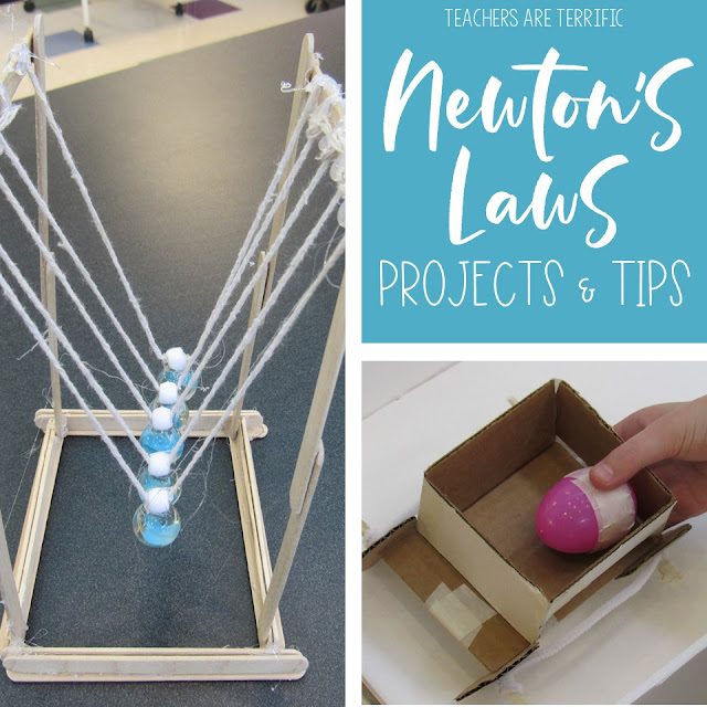STEM Challenges and ideas for hands-on projects all about Newton's Laws of Motion! Check this blog post for the details.