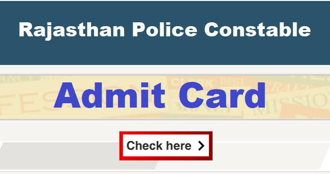 Rajasthan Police Constable Recruitment 2019 Exam  6 NOV 2020 1st shiftAdmit Card Download Here