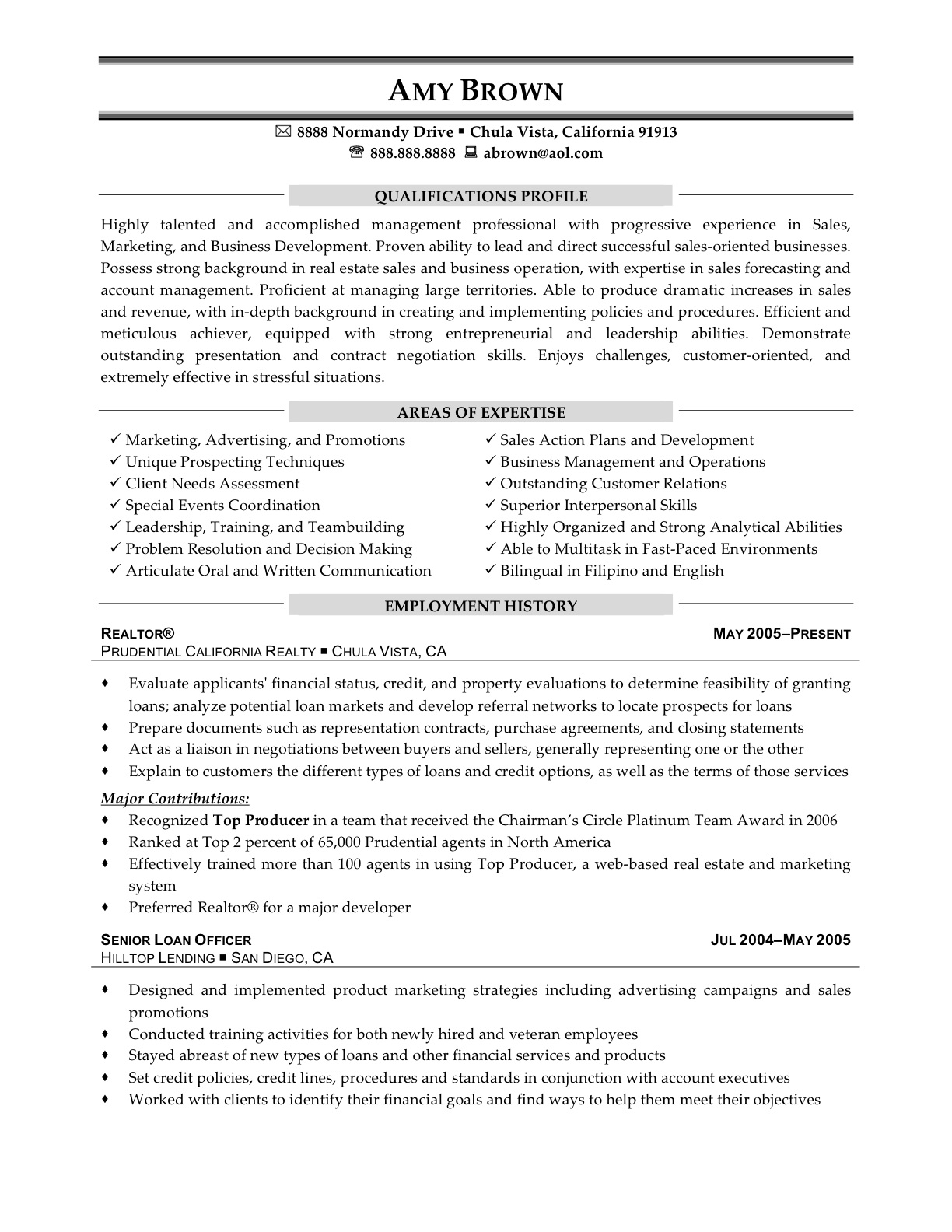 real estate consultant resume