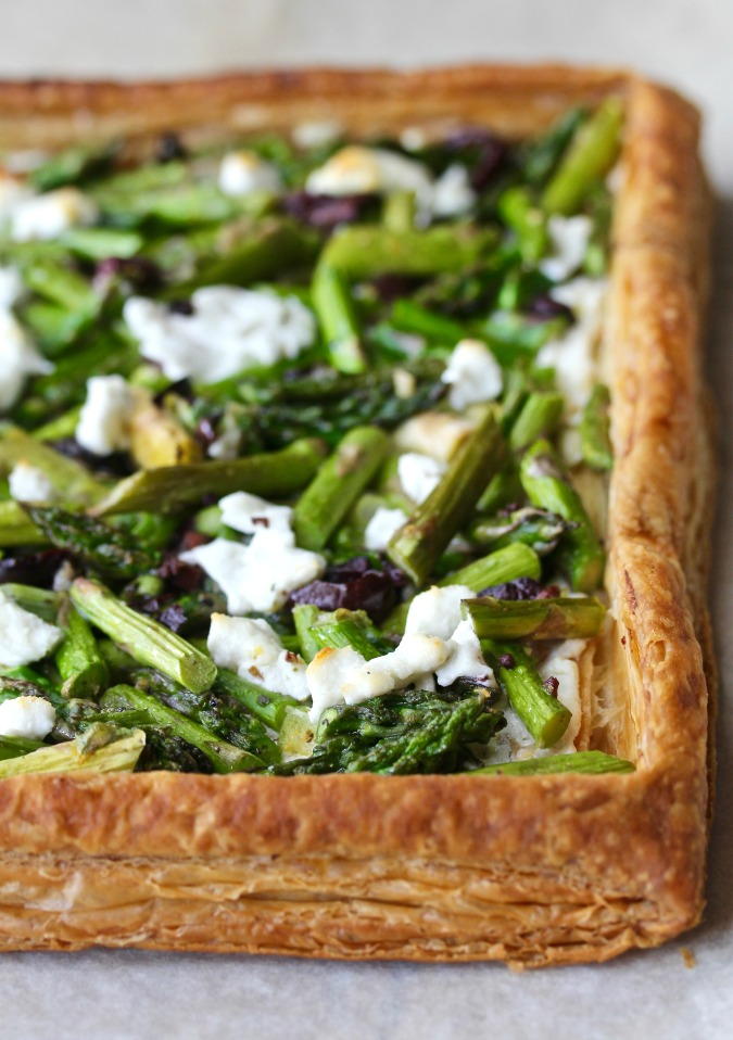 Asparagus and Goat Cheese Tart with Olives