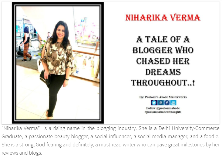 Top Indian Blogger Niharika Verma - Poulomisabode