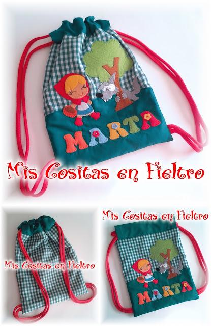 mochila, merienda, bolsa, guardería, niños, almuerzo, caperucita, nombre, Marta