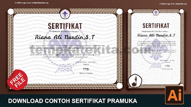 Download Contoh Sertifikat Pramuka Word Coreldraw Dan Photoshop Gratis