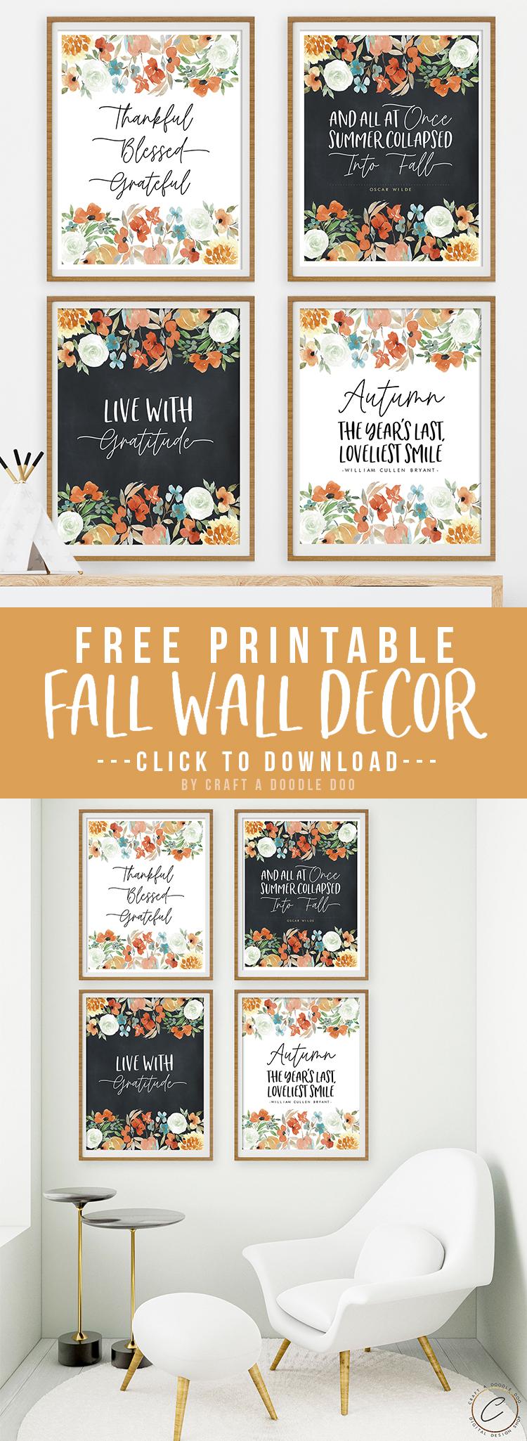 Free Fall Printable Wall Art Set | Watercolor Floral Farmhouse Style Autumn Digital Wall Decor by Craft A Doodle Doo #freefallprintablesbundle #freeautumnwallart #freefallwallgallery