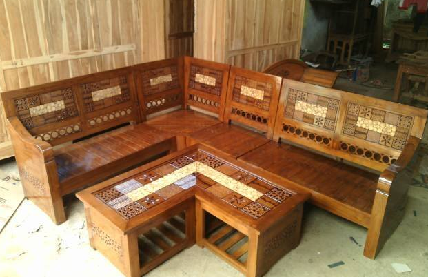 model kursi sudut kayu jati minimalis terbaru