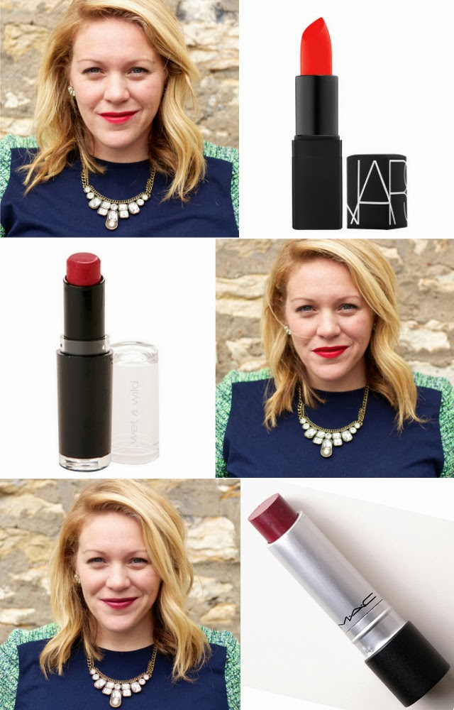 NARS Lipstick in heat wave wet n wild liplast in spotlight red mac longwear lipstick in heart hangover lipstick colors in real life irl