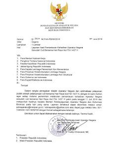 Inilah Surat Menteri PANRB Tentang Laporan Hasil Kehadiran Aparatur Negara Setelah Cuti Bersama pada Hari Raya Idul Fitri 1437 H yang Perlu Diketahui