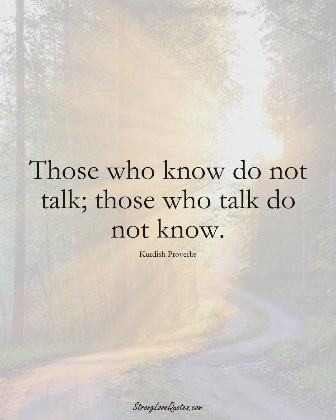 Those who know do not talk; those who talk do not know. (Kurdish Sayings);  #aVarietyofCulturesSayings