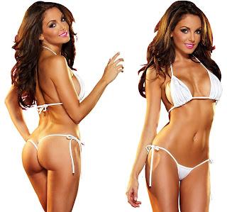 Muquam Triangle Cup Bikini Solid Women Bikini White Swimsuit