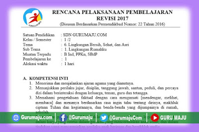 RPP Kelas 1 Tema 6 Kurikulum 2013 Revisi Tahun 2019