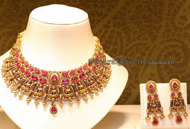Lakshmi Ruby Choker with Earrings by Joyalukkas