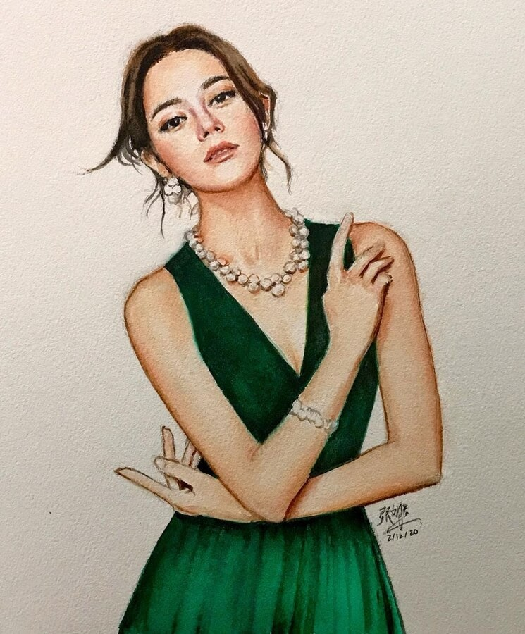 05-迪丽热巴-Watercolor-painting-David-Chong-www-designstack-co
