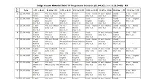 BRIDGE COURSE MATERIAL KALVI TV PROGRAMME SCHEDULE ( ஒளிபரப்பு செய்யும் நாட்கள், வகுப்பு, பாடம், நேரம் )