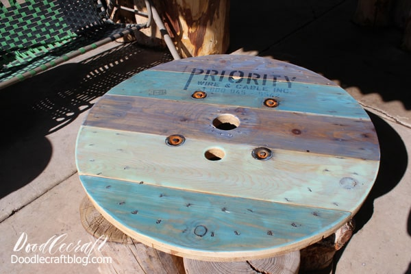 roadside rescued spool turned into a patio table.