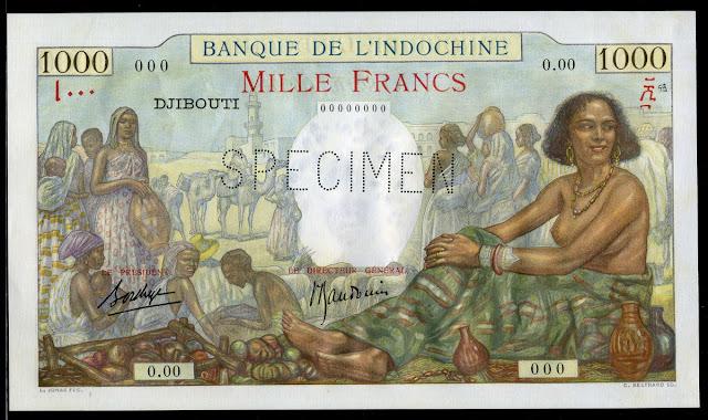 Djibouti French Somaliland money currency 1000 Francs banknote Bank Indochina bazaar