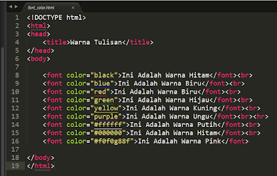 Cara Mengatur Color Font di HTML