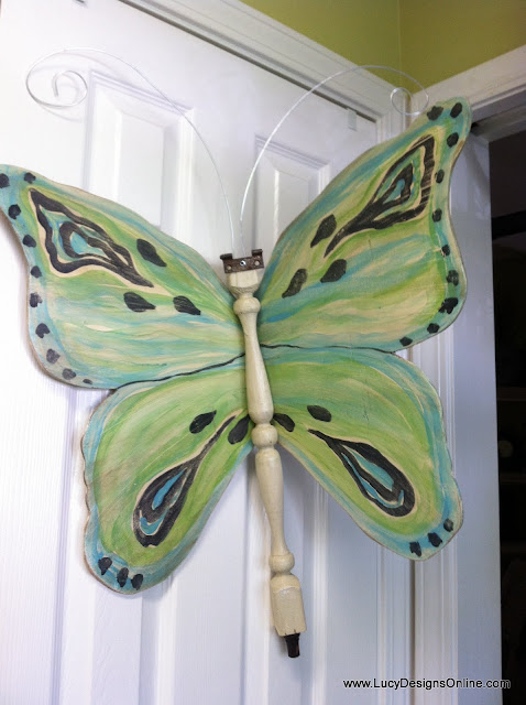 green butterfly art