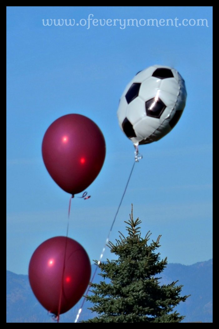 Soccer balloons at a game