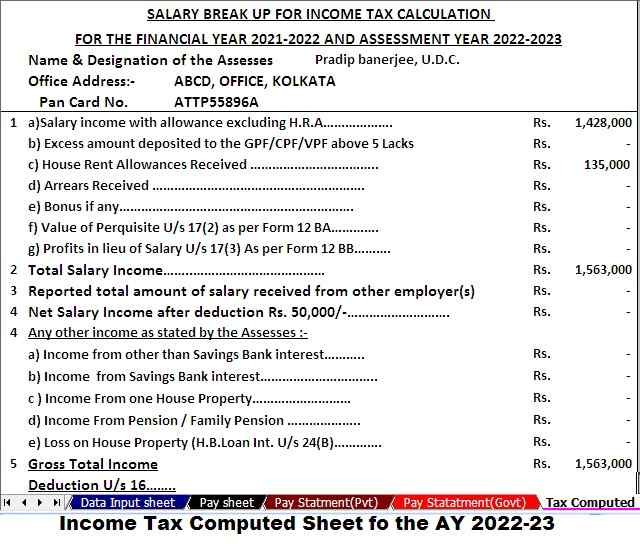 Tax Computed sheet