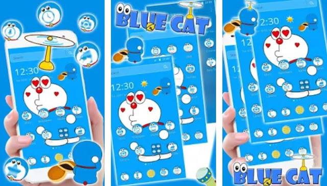 Kawaii Blue Cute Cat Cartoon