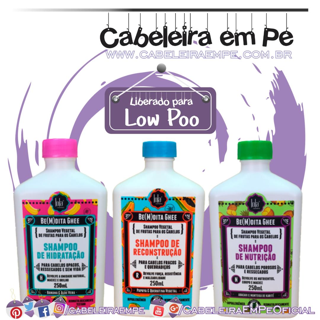 Shampoos Be(M)dita Ghee Hidratação (Banana), Nutrição (Abacaxi) e Reconstrução (Mamão) - Lola (Low Poo)
