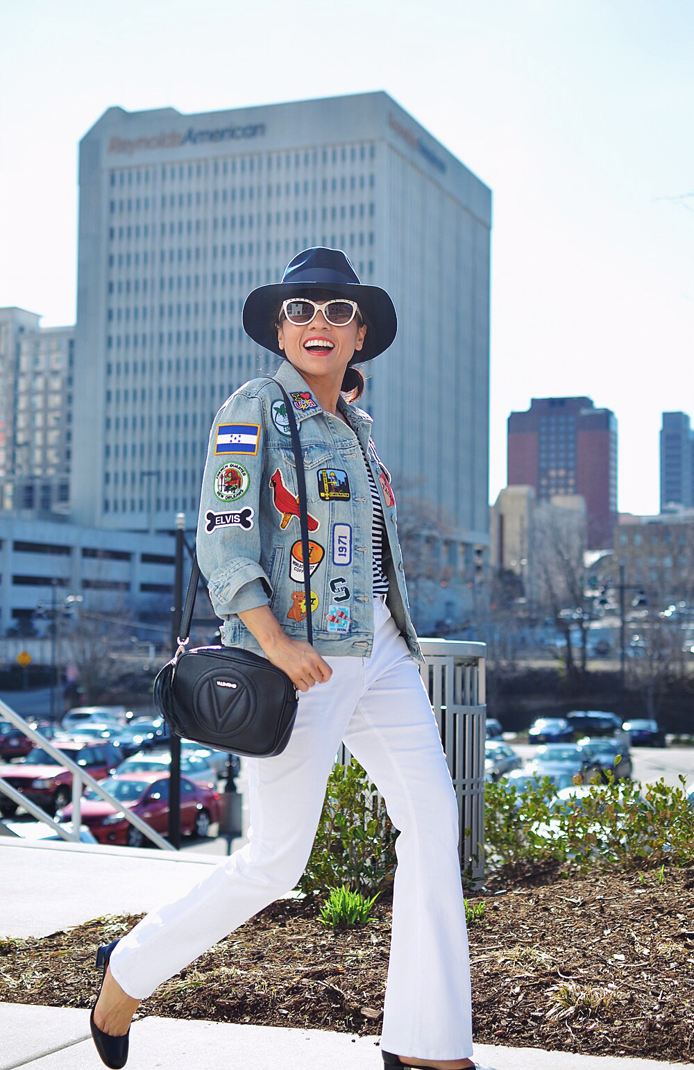Patches on jacket street style