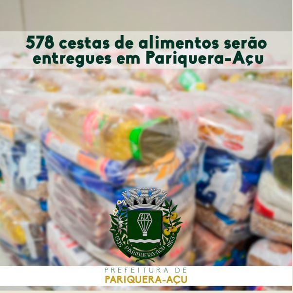 578 cestas de alimentos serão entregues em Pariquera-Açu
