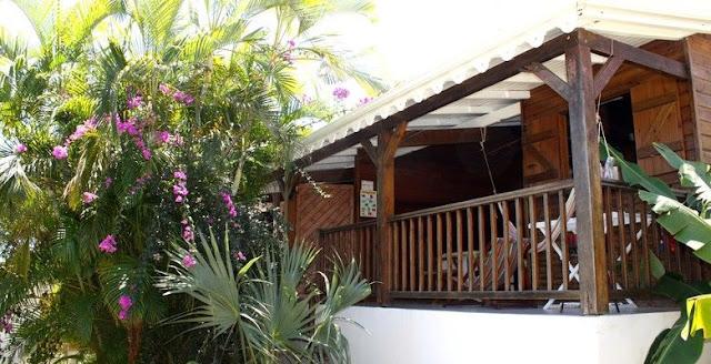 Bungalows en bois avec terrasse dans un jardin tropical