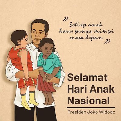 Ucapan Selamat Hari Anak Nasional Dilontarkan Presiden Joko Widodo