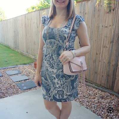 awayfromtheblue Instagram | french connection blue paisley print sheath dress with pastel pink peony rebecca minkoff small Darren bag