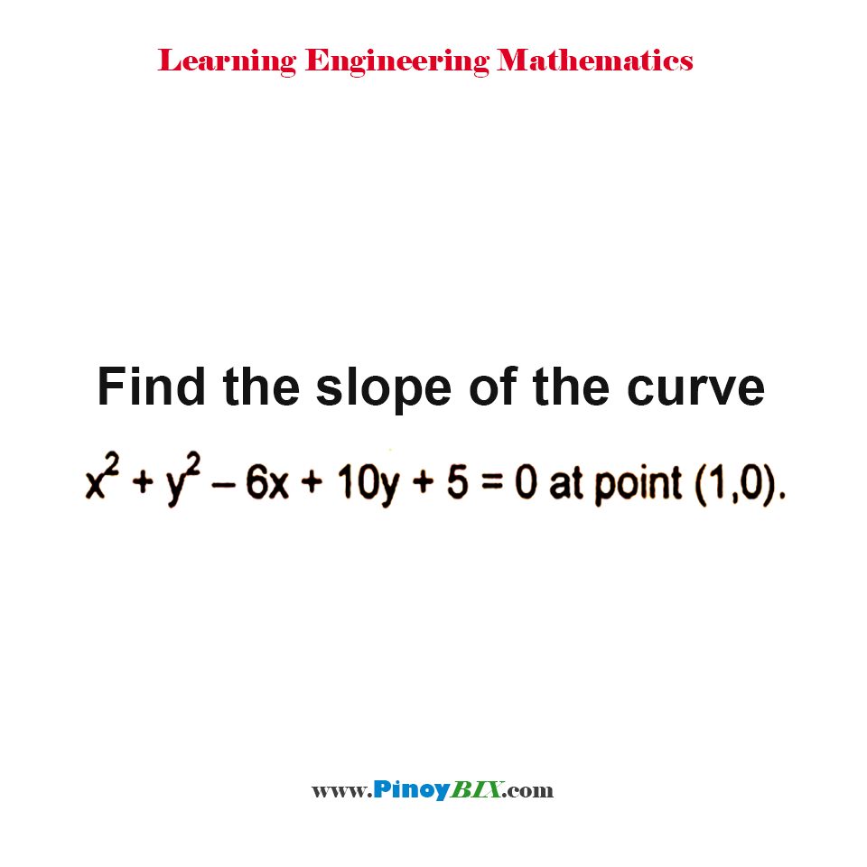 Find the slope of the curve x^2 + y^2 – 6x + 10y + 5 + 0 at point (1, 0).
