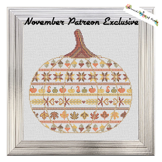 Autumn Colours Cross Stitch Pumpkin Pattern to Celebrate Fall