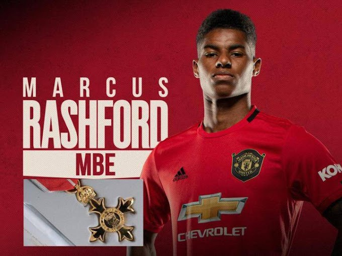 Manchester United striker, Marcus Rashford honoured with MBE by Queen Elizabeth II for his campaign against child poverty