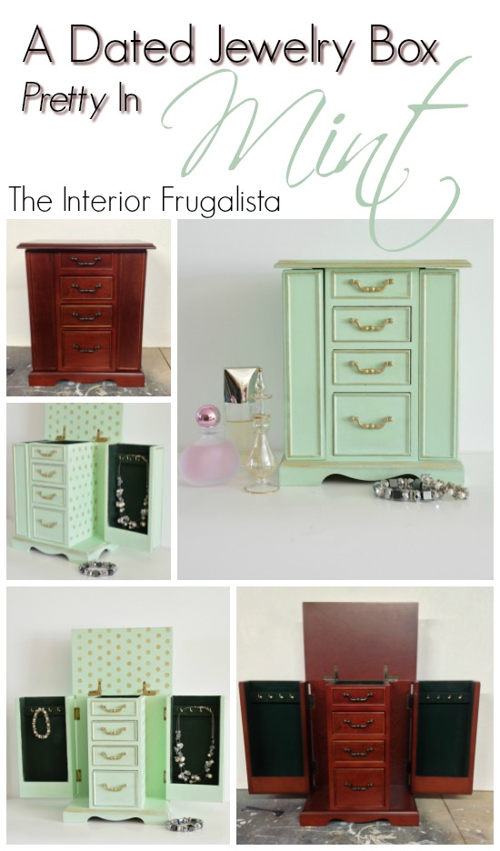 Jewelry Box Makeover In Mint Green
