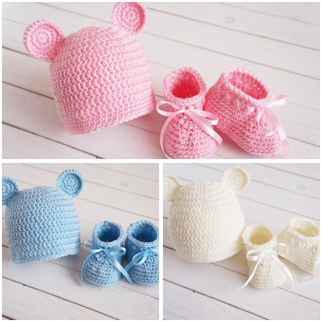 Prezent dla niemowlaka 0-3 miesiące. Komplet czapka z uszami i buty.