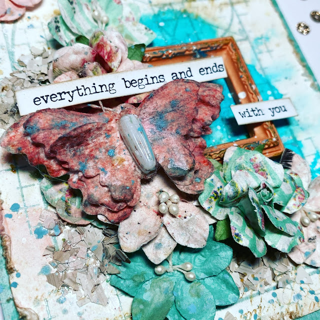 Mixed media handmade card with prima flowers that says everything begins and ends with you