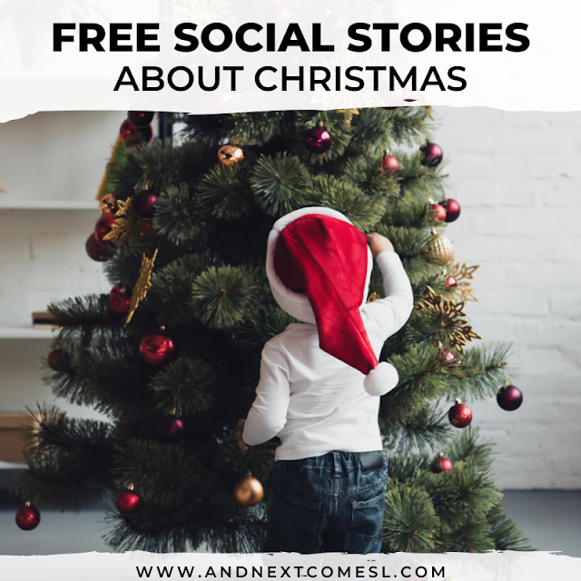 Free printable and video social stories about Christmas for kids with autism