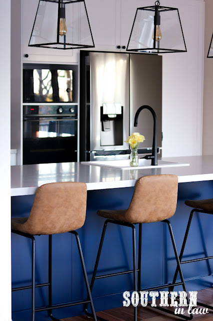 Hamptons Shaker Kitchen Renovation on a Budget with Navy Blue Island Bench