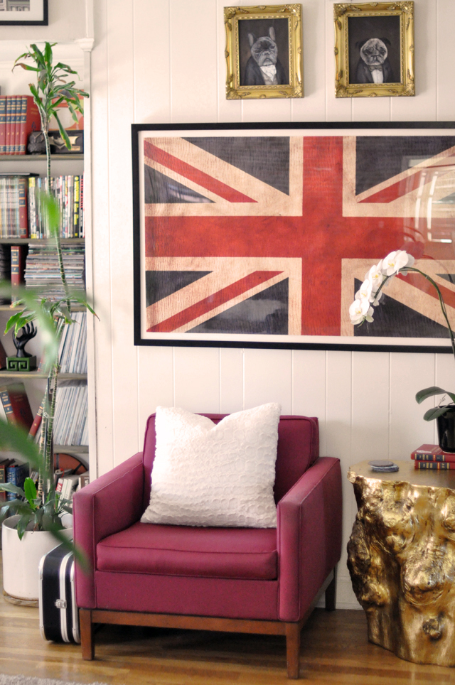 home decor, union jack flag print, vintage modern chairs, gold stump side tables, victorian dog portraits