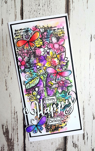 Water colouring a stamped image using product packaging/graphics