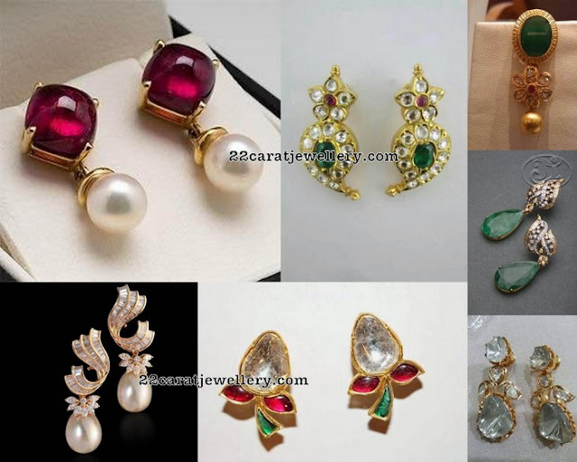 Simple Ear Tops With Drops Jewellery Designs