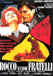 The movie poster for the Visconti classic Rocco and His Brothers