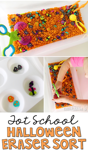 We LOVE this Halloween mini eraser sort sensory bin. Great for Halloween in tot school, preschool, or even kindergarten!
